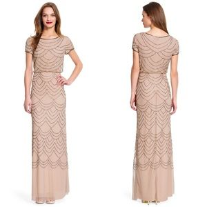 Adrianna Papell Short Sleeve Beaded Blouson Gown